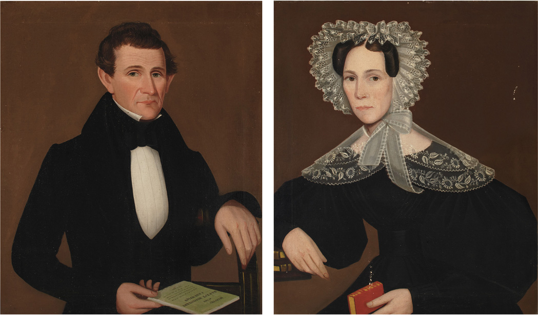 Portraits of a Lady and Gentleman from Dover Plains, New York by Ammi Phillips