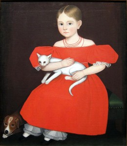 """Girl in red dress with cat and dog,"" portrait by Ammi Phillips"