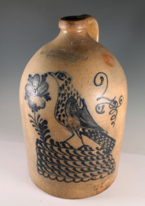 19th Century Blue Decorated Stoneware Crock