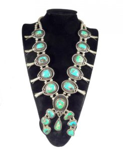 Native American Jewelry Sterling Silver Turquoise Squash Blossom