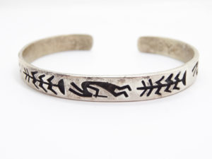 Vintage Sterling Silver Navajo Signed BY Bracelet American Indian Native American Jewelry