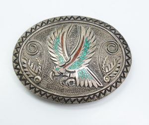 American Indian Pawn Turquoise inlay Belt Buckle Signed S