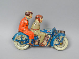 Vintage 1920s/30s German Tippco Tin Litho Wind-Up Two Seated Motorcycle Toy