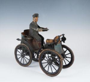 Antique c1900 German S.G. Gunthermann Tin Litho Wind-up Toy Car & Driver