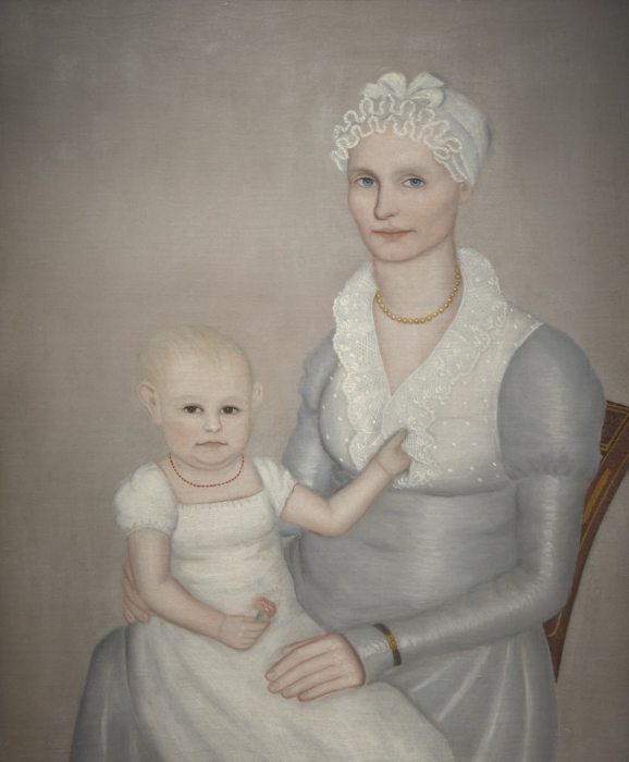 """Mrs. Wilbur (Sarah 'Sally' Stearns) Sherman (1789-1845) and daughter Sarah (1814-1872),"" Ammi Phillips"