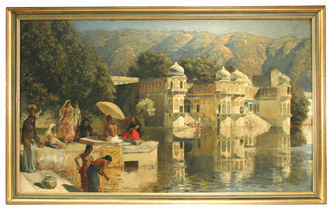 "Oil Painting by Edwin Lord Weeks ""Lake at Oodeypore"", India: exciting finds include rare artwork & estate jewelry"