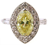 Natural Art Deco Fancy Color Yellow Diamond Ladies Ring: exciting finds include rare artwork & estate jewelry