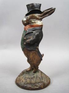 Albany Foundry gentleman rabbit - antique cast iron doorstops