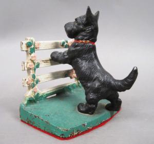 Scottie Dog Terrier at Garden Gate - antique cast iron doorstops