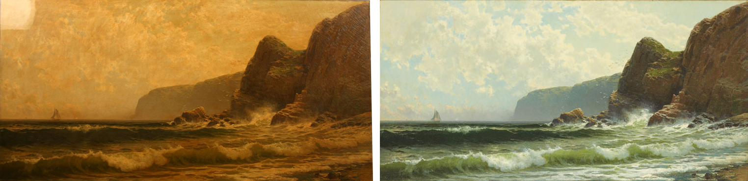 Bricher Painting Before & Restoration