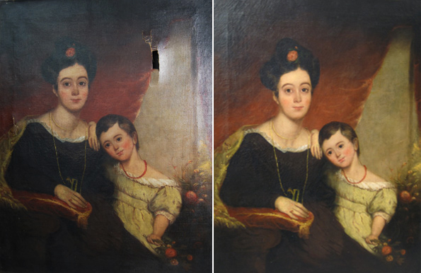 Mother & Child Portrait Before & After Painting Restoration