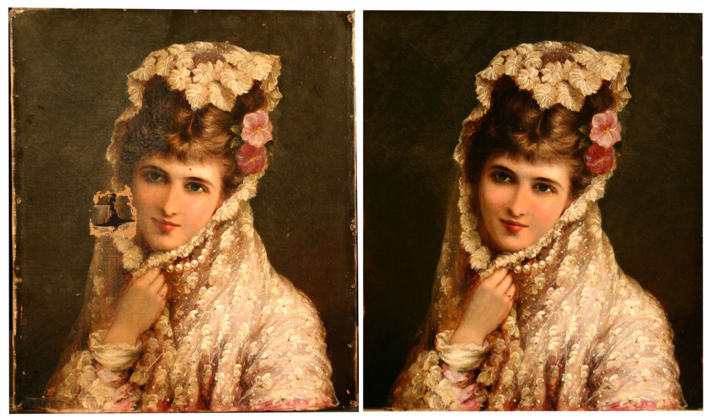 Portrait of a Lady Before & After Painting Restoration