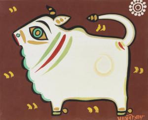 """Jamini Roy painting, """"Bull"""""""