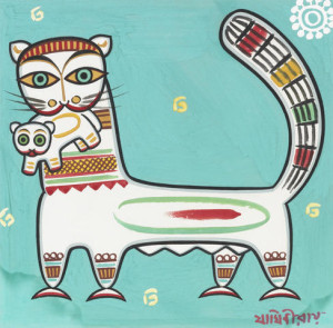 "Jamini Roy painting, ""Cat with Kitten"""