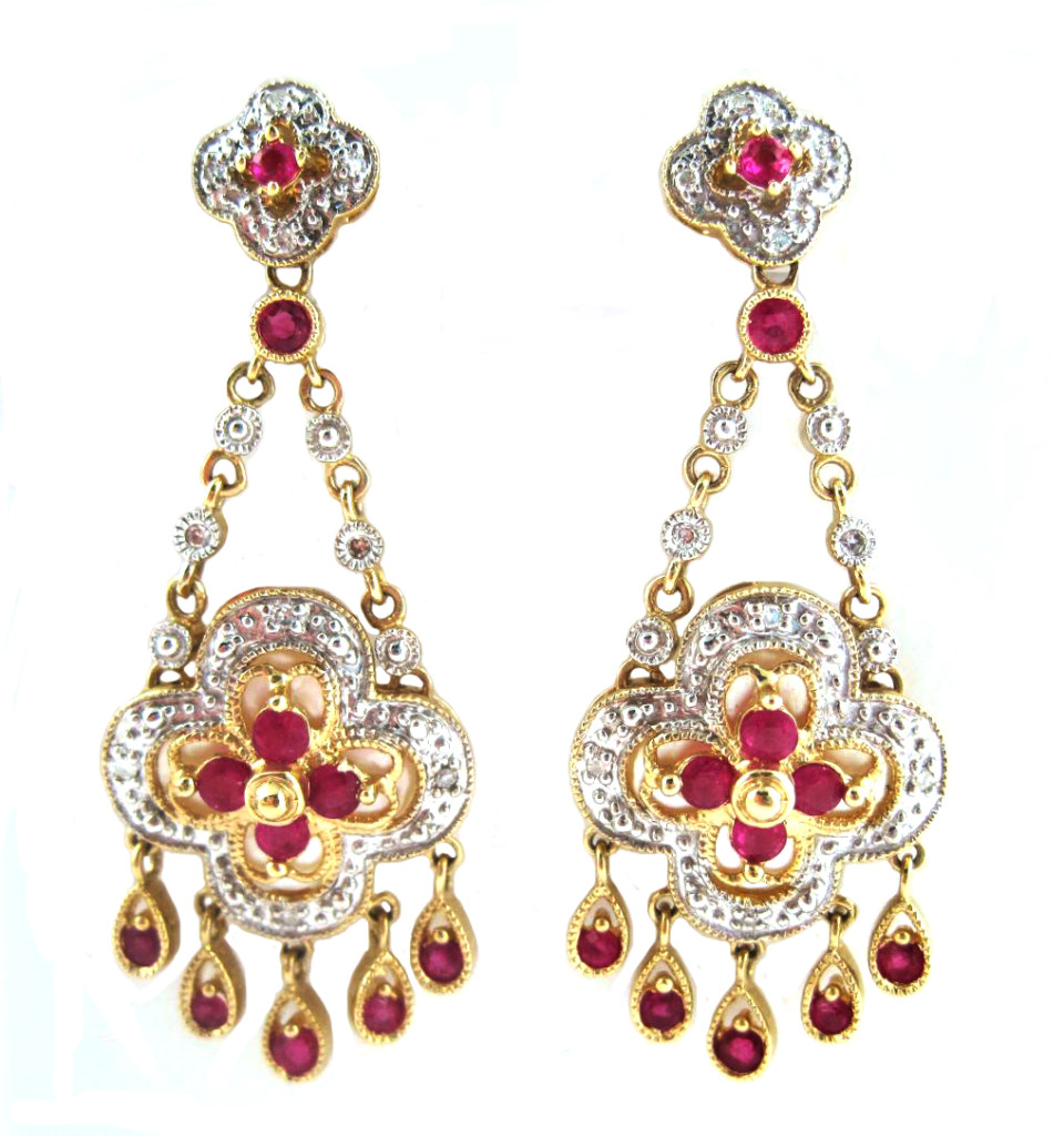 Mughal jewelry - diamond ruby earrings