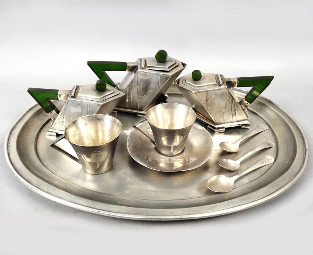 Anglo Raj Silver & Jade Teaset