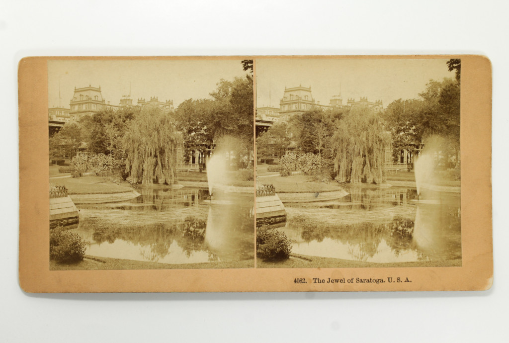 Saratoga Springs Congress Park & Grand Union Hotel - 19th Century Stereoview Card