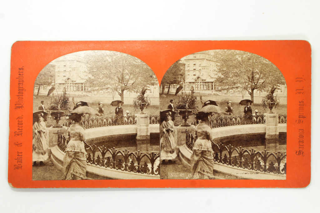 The Columbian Spring in Congress Park, Saratoga Springs - 19th Century Stereoview Card