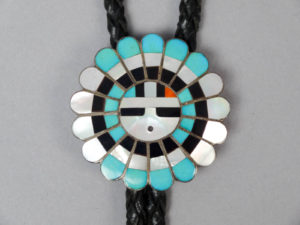 Native American Jewelry American Indian Stone Inlay Turquoise Onyx Mother of Pearl Bolo Tie Hopi