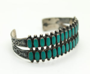 American Indian Jewelry Native American Turquoise Engraved Cuff Bracelet Sterling Silver