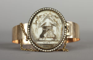 """Unknown maker 1785 Pearl, Gold, Ivory Albany Institute of History & Art, gift of Mrs. Cornelia S. Cate and Mrs. Robert Davison, 1968.8.1 """"D.T.-B. and C.S. / 1785"""" engraved on back of clasp. Bracelet given to Cornelia Stuyvesant by her groom Dirck Ten Brock."""
