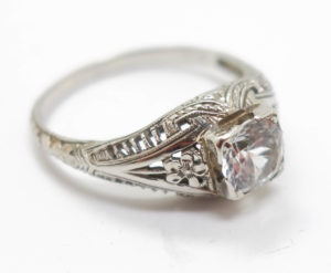 1920s 18K White Gold Filigree Diamond Solitaire Ring