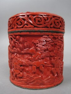 Antique Oriental Antique Cinnabar Tea Caddy