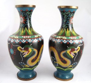 Buy Sell Asian Antiques Saratoga Springs NY Cloisonne Enamel Metal Vase Dragon